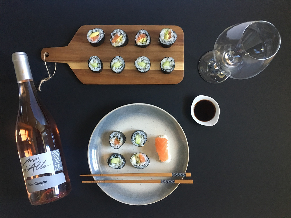 Rosé and sushi