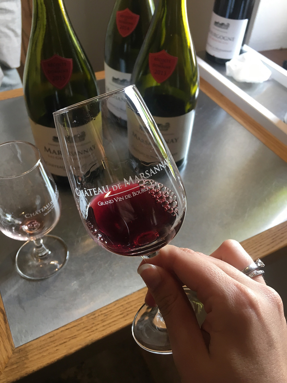 Tasting a selection of wines from chateau de Marsannay