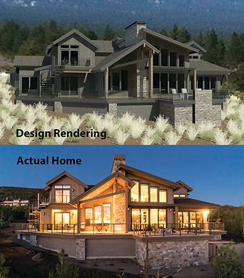 Design rendering in comparison to completed custom home.
