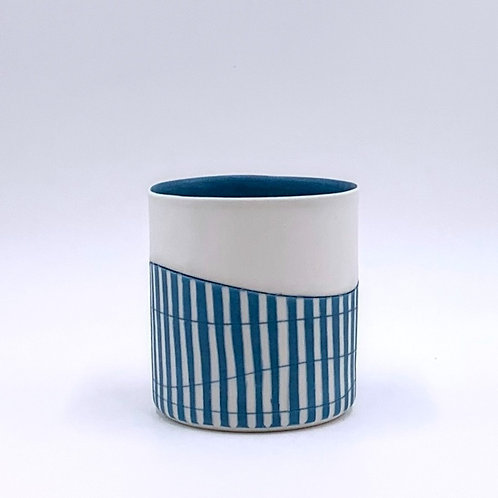 Cylinder vessel with Turquoise Interior