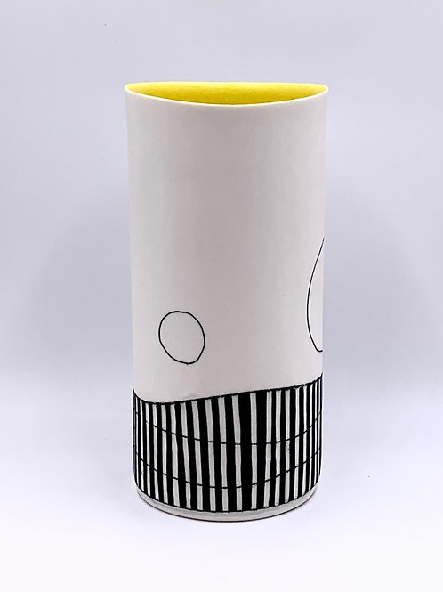 Tall Vase with Yellow Interior