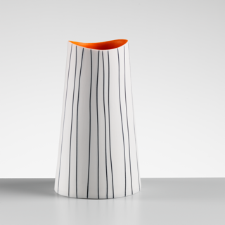 Striped Vase with Orange Interior