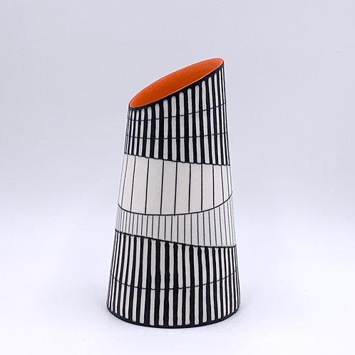 Conical Vase with Orange Interior