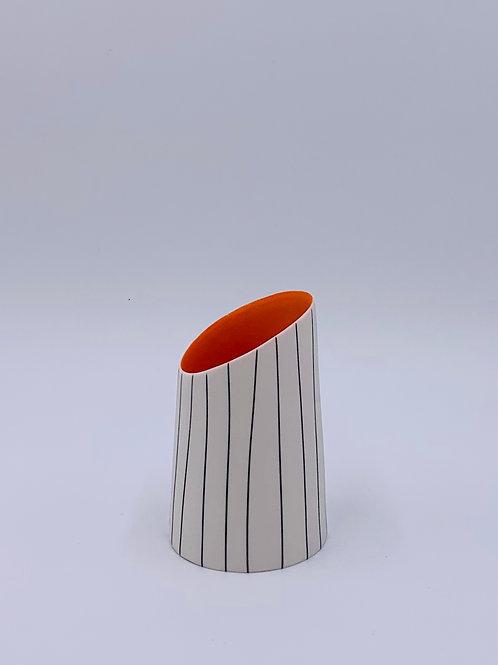 Short Vase with Orange Interior