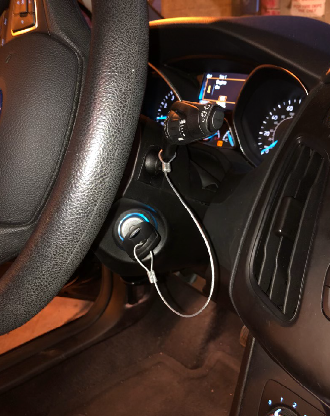 Universal CableTether in the ignition.  View from the passenger.