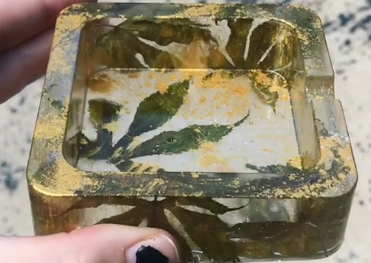 Green and Gold Ash Tray