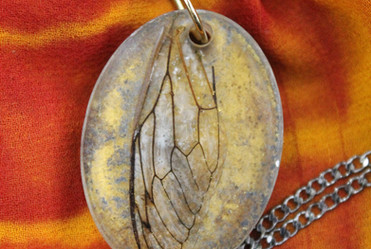 Cicada Wing Necklace on recycled sari