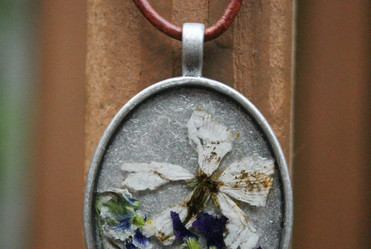 Pressed Flowers in Resin on Leather