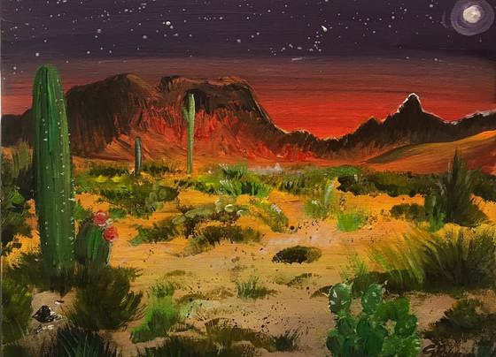 Desert at moonrise