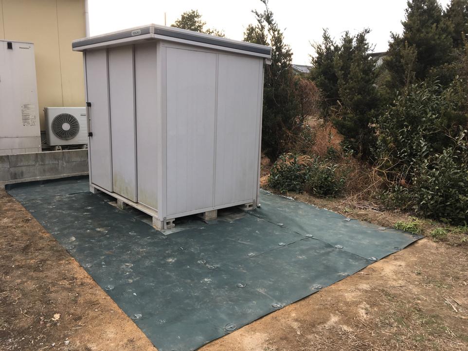 物置移設 防草シート 敷設 浜松市 浜北区 えにしプランニング 整地 アンカー 便利屋
