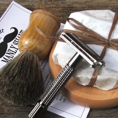 Badger Brush with Razor Shave Set