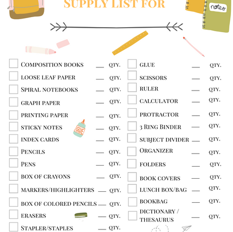 Stay Organized! Get This Back To School Supply List Printable!