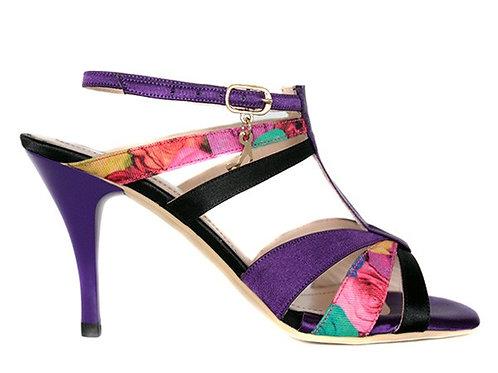 M89 Black & Purple Flower Print (Heel 7.5)