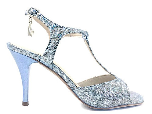 Blue & Silver Glittered Leather