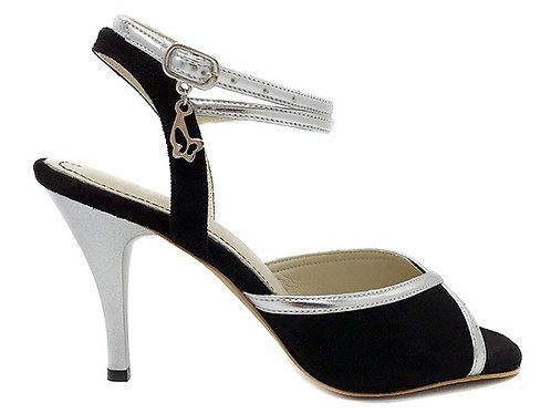 Black Suede & Silver