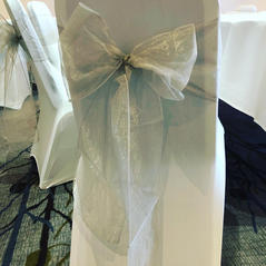 Silver organza sash and White Chair Covers