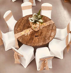 Hessian sashes and White Chair Covers