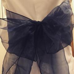 Dark blue organza sash and White Chair Covers