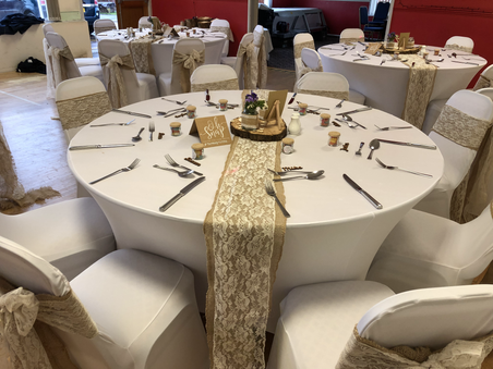 Hessian and lace sashes and White Chair Covers