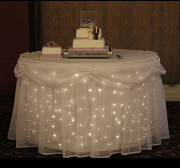 Twinkle light cake table skirt