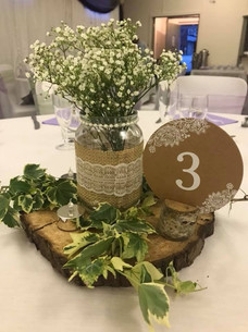 Hessian and lace with gypsophelia centrepiece