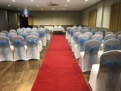 Baby blue sashes and White Chair Covers