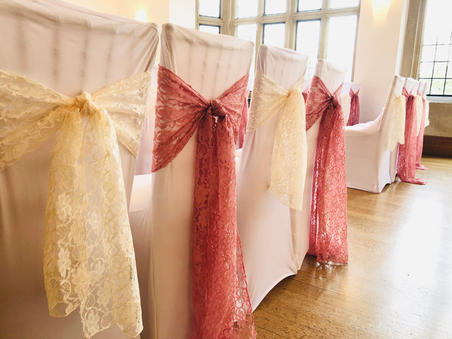 Blush Pink and Ivory Lace Sashes and White Chair Covers