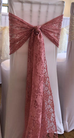 Blush Pink Lace sashes and White Chair Covers