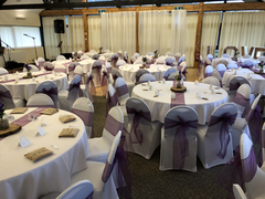 Eggplant sashes and White Chair Covers