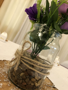 Wooden log centrepiece