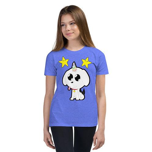 Puppy Unicorn with Stars Youth Short Sleeve T-Shirt