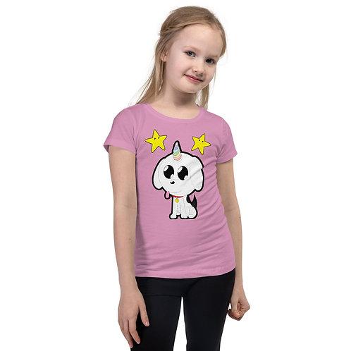 Unicorn Pup with Stars Girl's T-Shirt