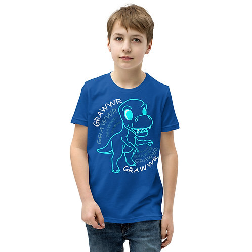 Blue T-Rex Grawwr Youth Short Sleeve T-Shirt