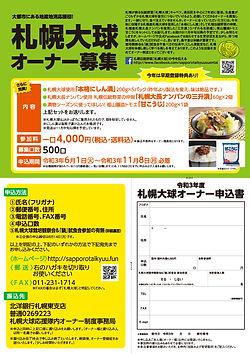札幌大球オーナー募集A4チラシ表