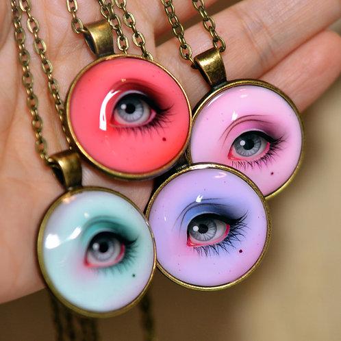 Hand Painted Lover's Eye Pendant