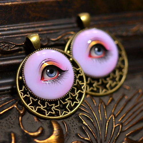 Hand Painted Lover's Eye Pendant