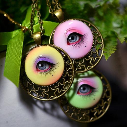 Hand Painted Lover's Eye Pendant - Star Series