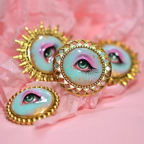 Hand Painted Lover's Eye Brooch - Mermaid