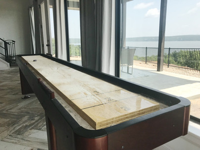 Shuffleboard with a view of the lake