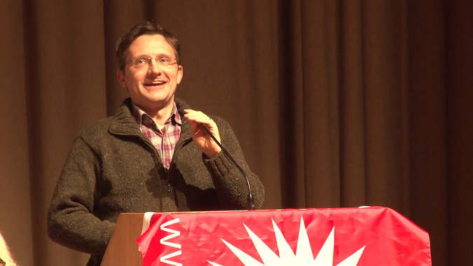 Councillor Donal O'Cofaigh speaking at Socialism 2019
