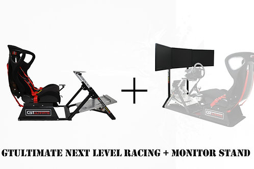 Bundle Race - Next Level GTultimate V2 Racing Simulator Cockpit + Monitor Stand