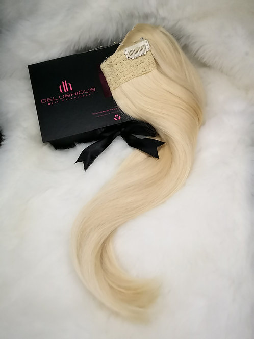 Hollywood blonde Halo extensions