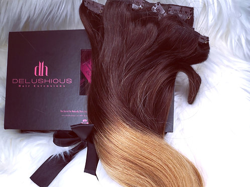 Ombre Caramel Melt 22in clip-in extensions