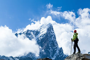 Young woman hiker hiking in Himalaya Mou