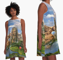 Ancient Sites A-Line Dress