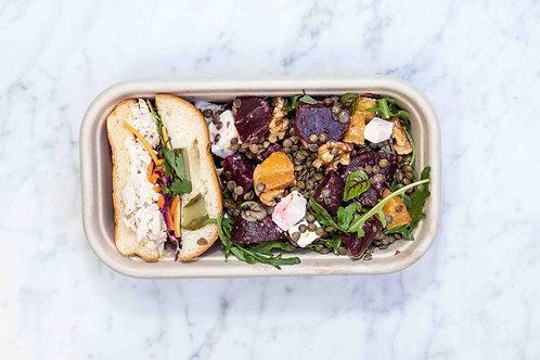 1/2 Chicken Sandwich & Lentil Salad