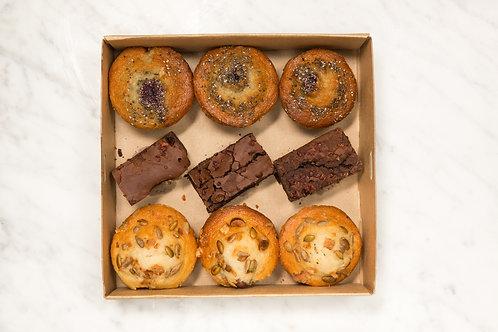Banana, Blueberry Muffins & Triple Chocolate Brownie