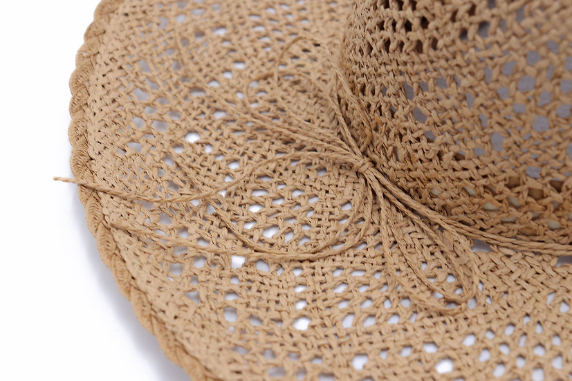 Surell Straw Paper Hat with a Wide Brim - Hand Woven