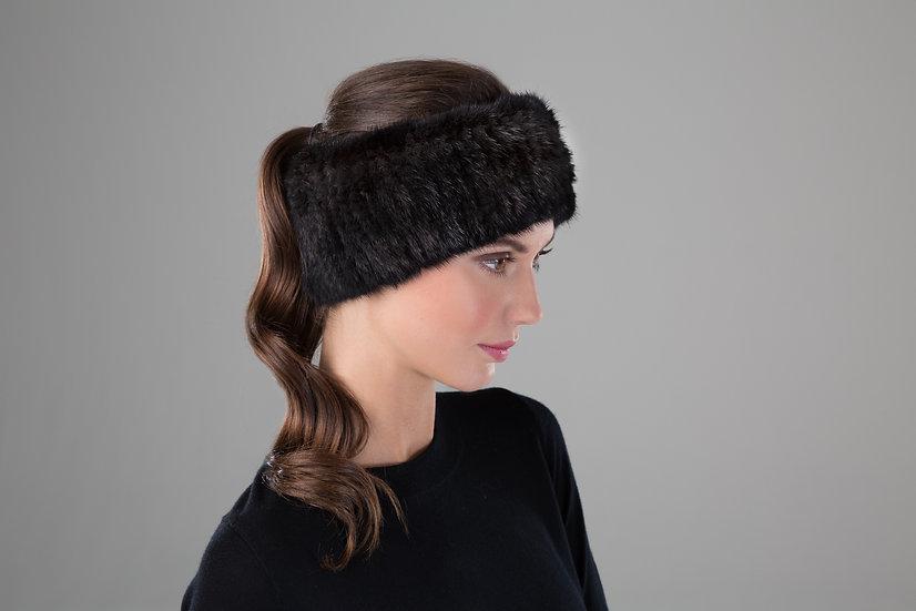 Surell Mink Fur Knit Headband/Scarf