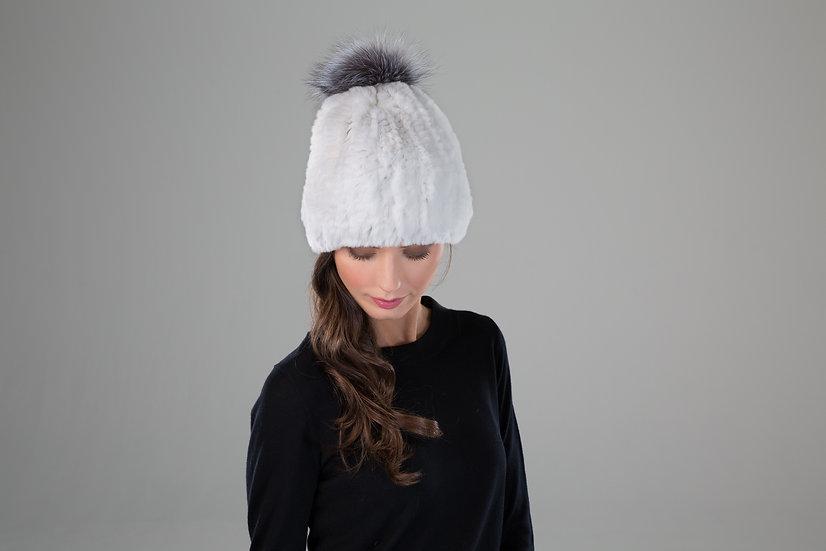 Surell Rex Rabbit Textile Beanie w/ Fur Pom